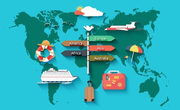 Iconen set van reizen en zomervakantie plannen