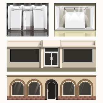 Iconen set van vitrines winkels.