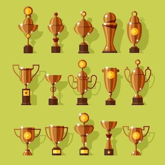 Iconen set zilveren sport award bekers in moderne stijl.