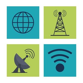 Iconen van aardbol- en signaalantennes