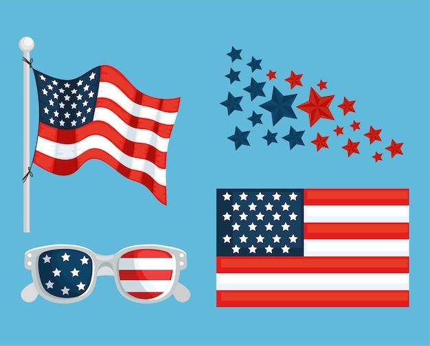 Iconen van amerikaanse emblemen
