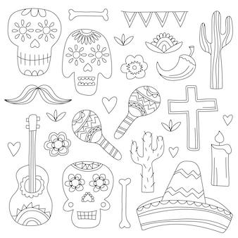 Iconen van de dag van de doden, een traditionele feestdag in mexico. schedels, bloemen