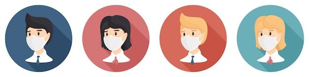 Iconen van de ronde vorm met een vrouw en een man in een medisch masker.