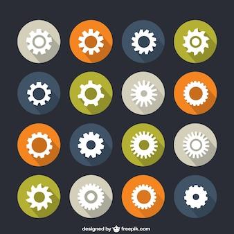 Iconen van de tandwielen