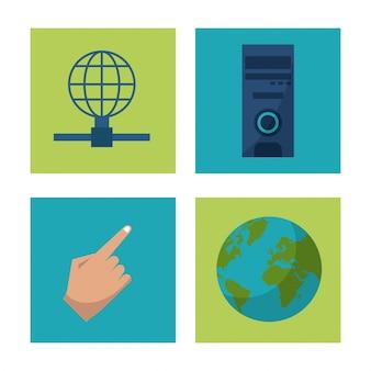 Iconen van hand en globe aarde en mainframe en wereldwijd netwerk