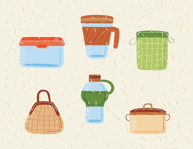 Iconen van herbruikbare containers