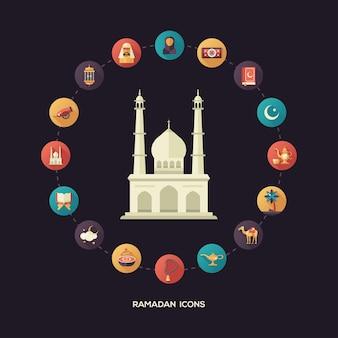 Iconen van islamitische vakantie, cultuur ramadan. moslim man, vrouw, kameel, kanon, moskee, gebedskralen, lamp, trommel