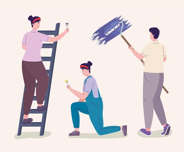 Iconen van mensen die schilderen
