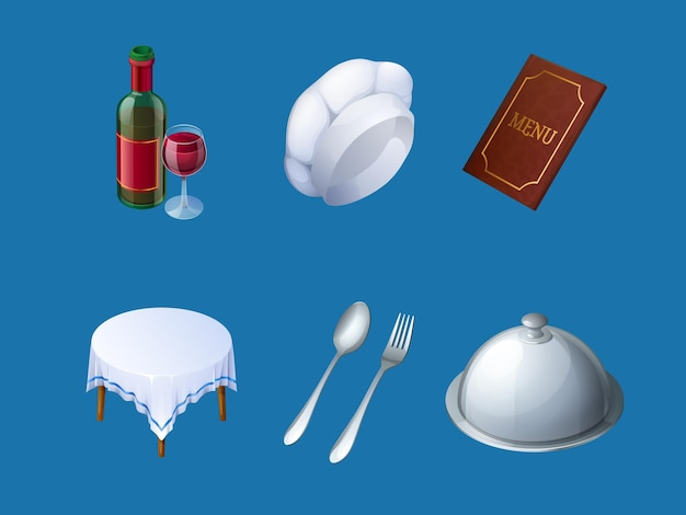 Iconen van restaurant menu chef hoed dienblad en wijn