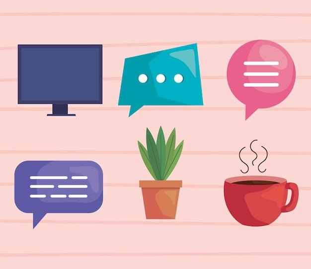 Iconen van virtuele vergadering