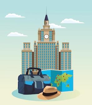 Iconisch gebouw met reistas en hoed