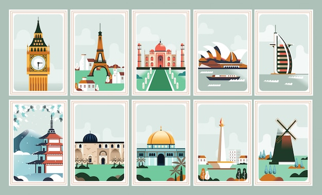 Iconisch gebouwposter en postzegel