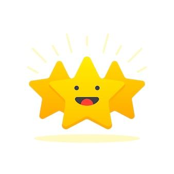 Iconische illustratie van tevredenheidsniveau. klantrecensie geef ster. positief feedbackconcept. minimaal plat ontwerp. vector illustratie. geïsoleerd op witte achtergrond