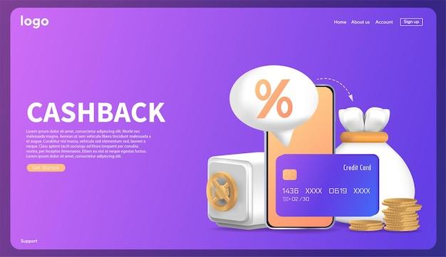 Icoon renteterugbetaling sjabloon voor reclamefinanciering renteteruggave na veilige betalingen