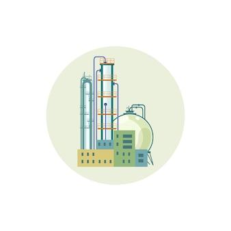 Icoon van een chemische fabriek of raffinaderijverwerking