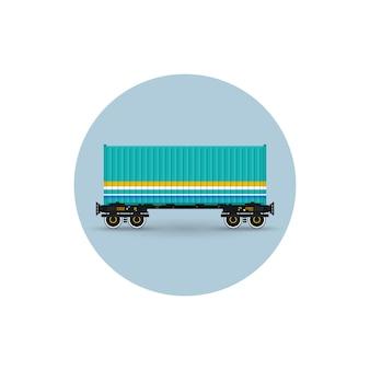 Icoon van een containerplatform voor het vervoer van containers per spoor, vectorillustratie