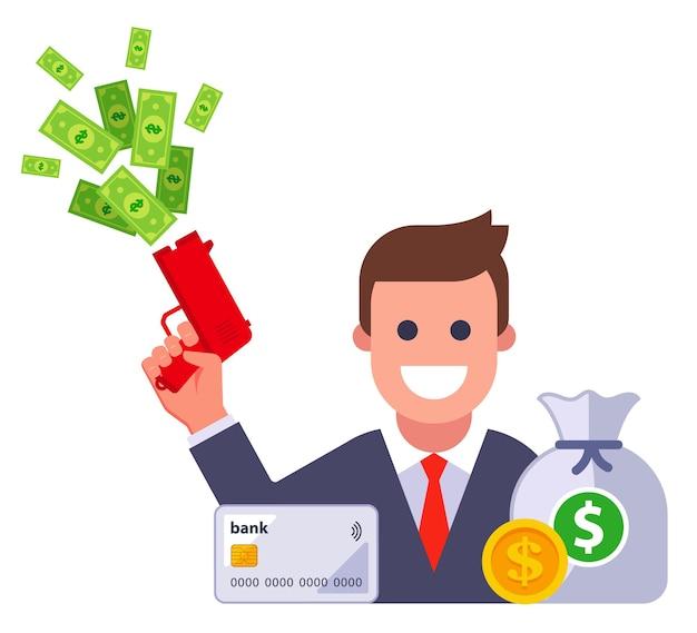 Icoon van een rijke man met een hoop geld. platte vectorillustratie.
