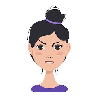 Icoon van gezichtsuitdrukkingen avatars van een aziatische vrouw met donker haar verschillende vrouwelijke emoties aantrekken...