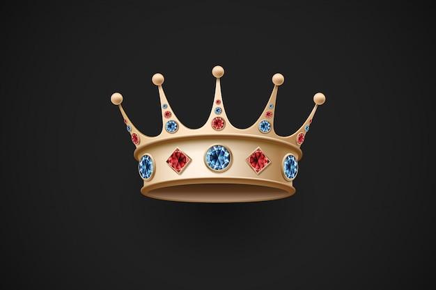 Icoon van gouden koninklijke kroon met rode en blauwe diamant