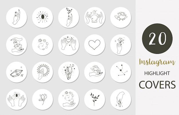 Icoon van instagram highlight cover met hand, roos, magie in boho-stijl voor sociale media