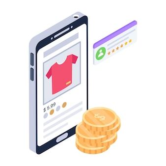 Icoon van koop online shirt in isometrisch ontwerp