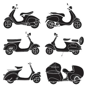 Icoon van motorfiets scooter tekening zwart
