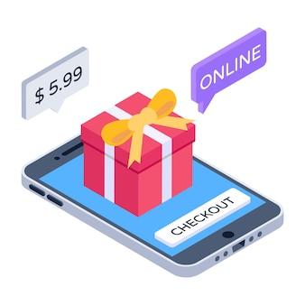Icoon van online cadeau kopen in moderne isometrische stijl