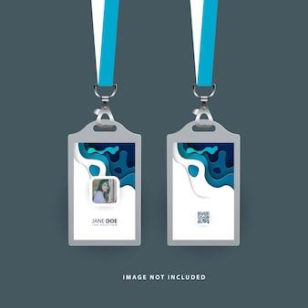 Id-kaartsjabloon met papier gesneden vormen blauwe kleur
