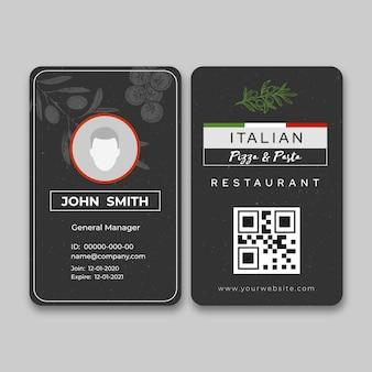 Id-kaartsjabloon voor italiaans eten
