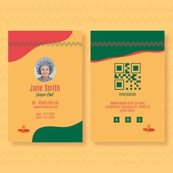 Id-kaartsjabloon voor mexicaans eten restaurant