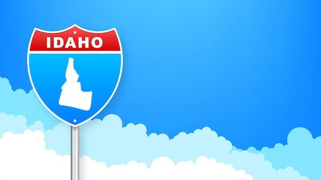 Idaho kaart op verkeersbord. welkom in de staat idaho. vector illustratie.