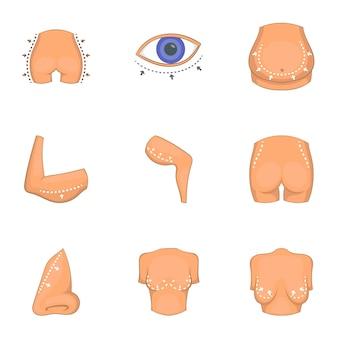 Ideale lichaamsvorm iconen set, cartoon stijl