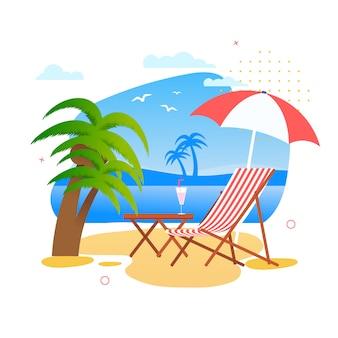 Ideale plek om uit te rusten op tropical beach cartoon. chaise lounge of deck chair, tafel met exotische cocktail en parasol van sun on seascape