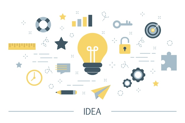 Idee concept. creatieve geest en brainstorm. gloeilamp als metafoor voor idee. set van innovatie en onderwijs kleurrijke pictogrammen. lijn illustratie