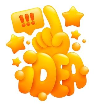 Idee concept teken. emojihand die één vinger toont. 3d-beeldverhaalstijl.