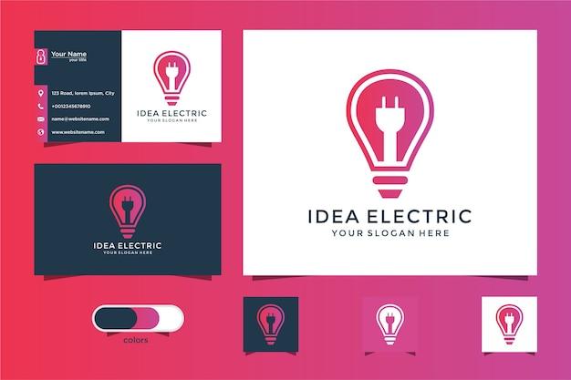 Idee elektrisch logo-ontwerp en visitekaartje