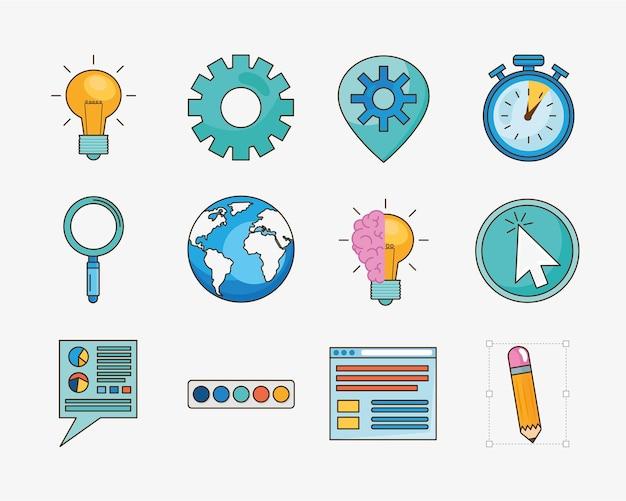Idee en creativiteit icon set