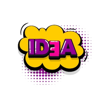 Idee komische tekst geluidseffecten pop-art stijl vector tekstballon woord cartoon