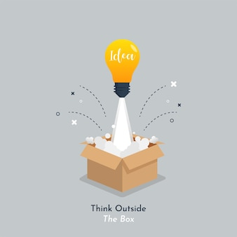 Idee lamp licht lancering van doos cartoon pictogram illustratie