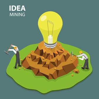 Idee mijnbouw vlakke isimetrische vectorillustratie