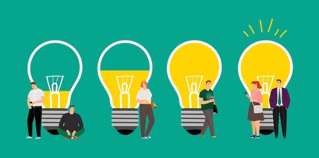 Idee-ontwikkeling. mensen bij elkaar brengen, een zakelijk team creëren voor een interessant idee.