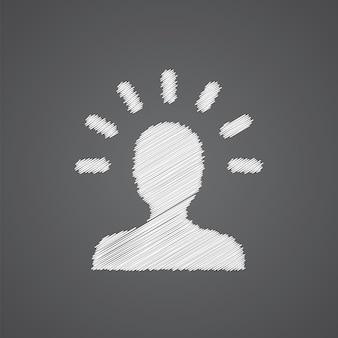 Idee schets logo doodle pictogram geïsoleerd op donkere achtergrond