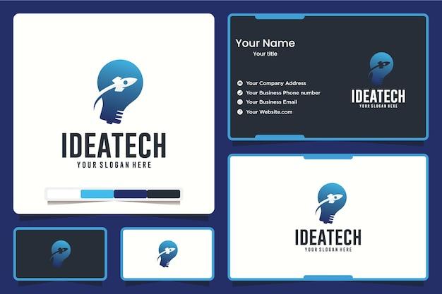 Idee tech, lamp, logo ontwerp inspiratie