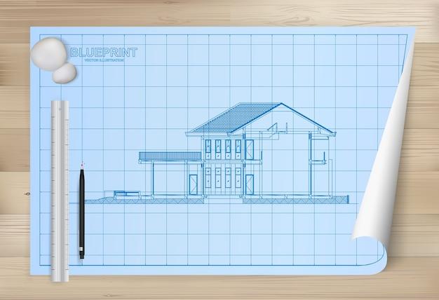 Idee van huis op blauwdrukdocument achtergrond