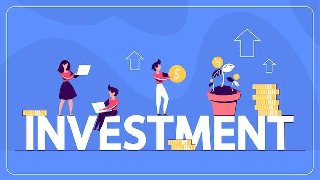 Idee van investeringen en financiële rijkdom webbanner.