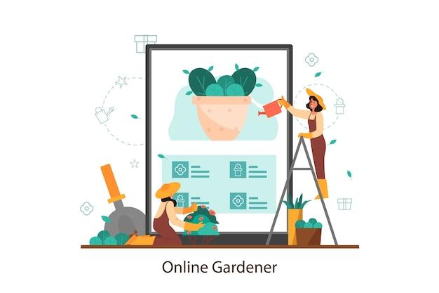Idee van online tuin- en tuinbouwontwerperservice. vrouw drenken bloem in de pot. vrouwelijk karakter dat bomen en struiken plant. geïsoleerde vlakke afbeelding vector