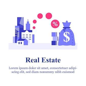 Idee voor investeringen in onroerend goed, hypothecaire lening, huurappartement