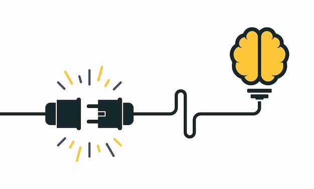 Ideeconcept, menselijk brein in gloeilamp, creatief bolteken met elektrische stop en kabel vectorillustratie als achtergrond