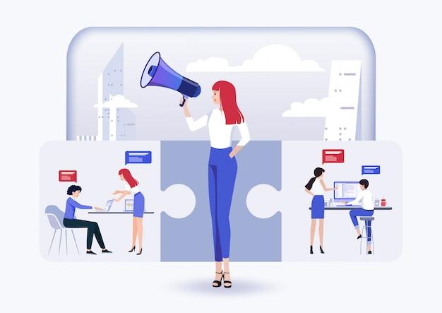 Ideeconcept voor teamwerk en brainstorm, promotie in het netwerk