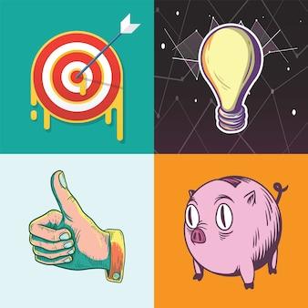 Ideedoel besparingen doelen pictogram voor bedrijfsinvesteringen grafische illustratie